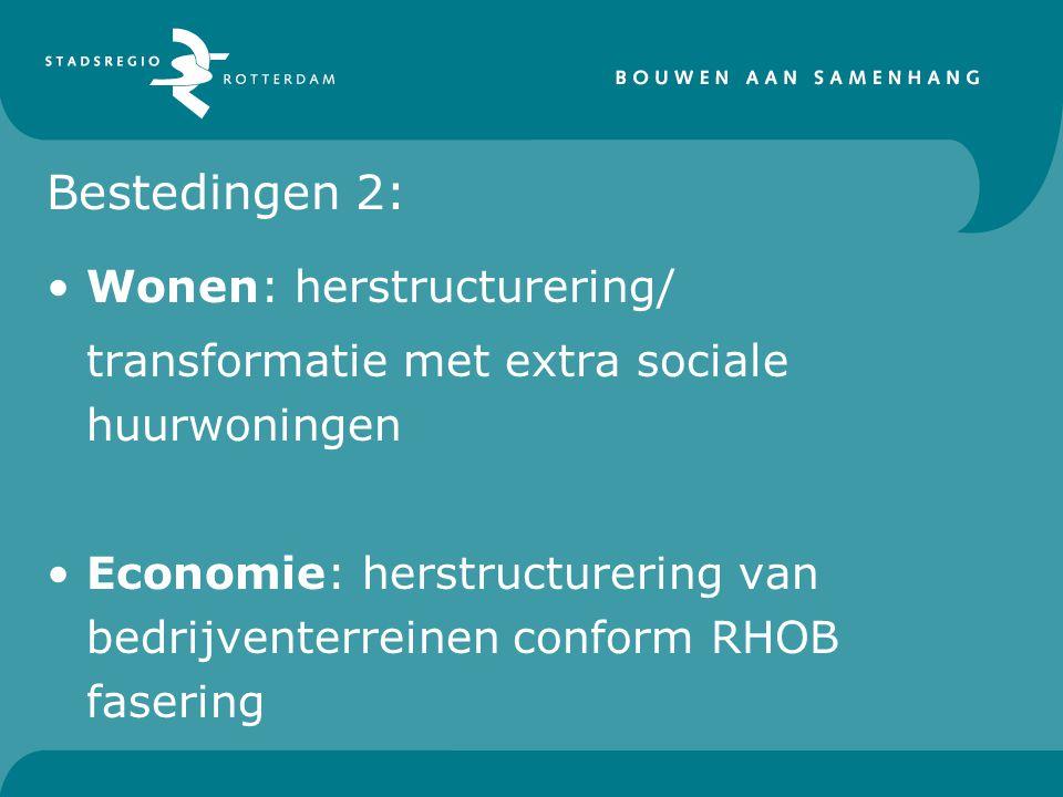 Bestedingen 2: Wonen: herstructurering/ transformatie met extra sociale huurwoningen Economie: herstructurering van bedrijventerreinen conform RHOB fa