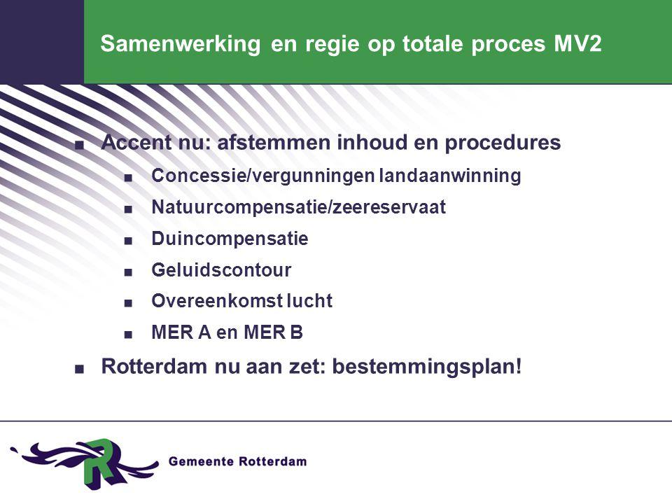 Samenwerking en regie op totale proces MV2. Accent nu: afstemmen inhoud en procedures. Concessie/vergunningen landaanwinning. Natuurcompensatie/zeeres