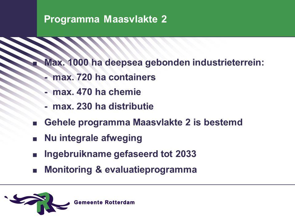 Programma Maasvlakte 2. Max. 1000 ha deepsea gebonden industrieterrein: - max. 720 ha containers - max. 470 ha chemie - max. 230 ha distributie. Gehel