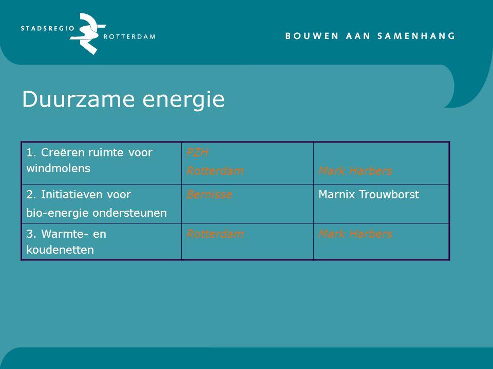 Duurzame energie 1. Creëren ruimte voor windmolens PZH RotterdamMark Harbers 2.
