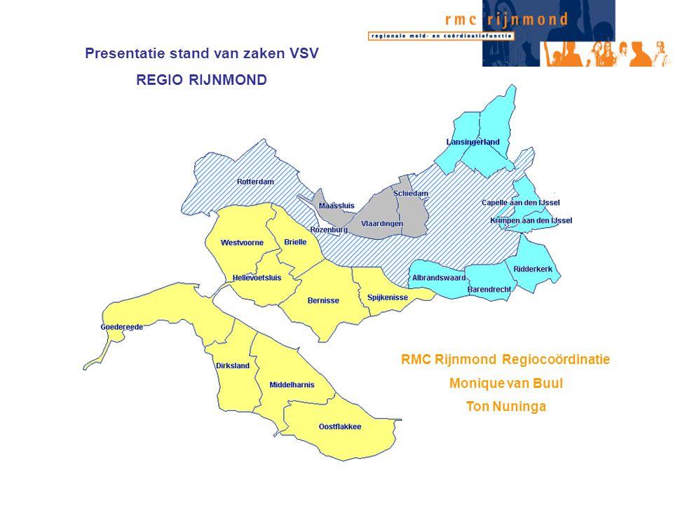 Presentatie stand van zaken VSV REGIO RIJNMOND RMC Rijnmond Regiocoördinatie Monique van Buul Ton Nuninga