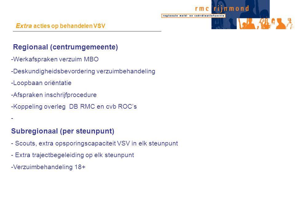 Regionaal (centrumgemeente) -Werkafspraken verzuim MBO -Deskundigheidsbevordering verzuimbehandeling -Loopbaan oriëntatie -Afspraken inschrijfprocedure -Koppeling overleg DB RMC en cvb ROC's - Subregionaal (per steunpunt) - Scouts, extra opsporingscapaciteit VSV in elk steunpunt - Extra trajectbegeleiding op elk steunpunt -Verzuimbehandeling 18+ Extra acties op behandelen VSV