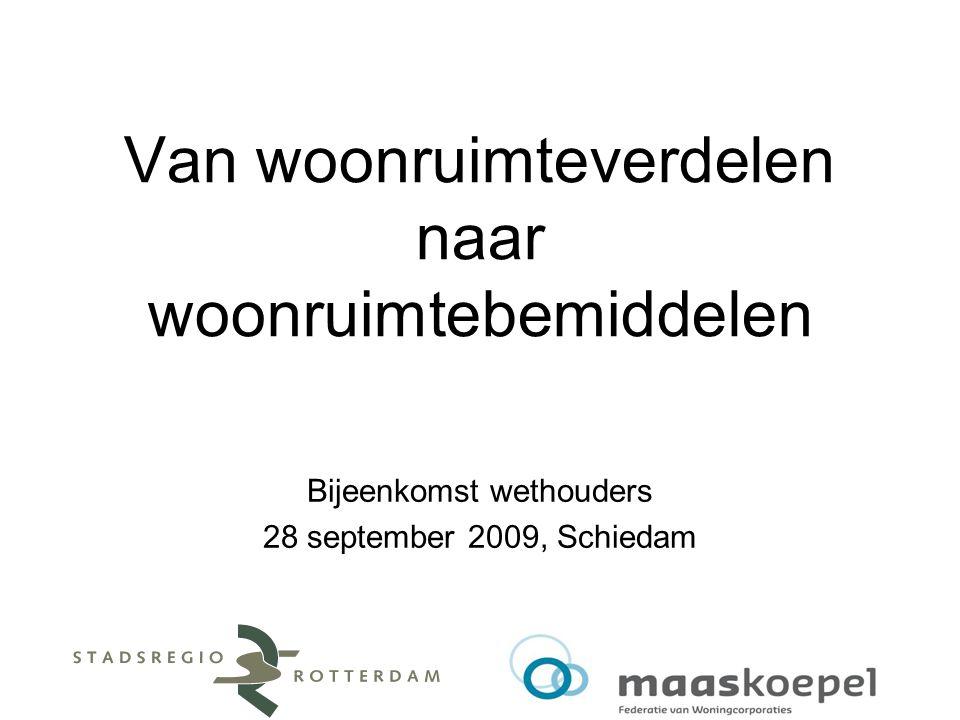 Van woonruimteverdelen naar woonruimtebemiddelen Bijeenkomst wethouders 28 september 2009, Schiedam
