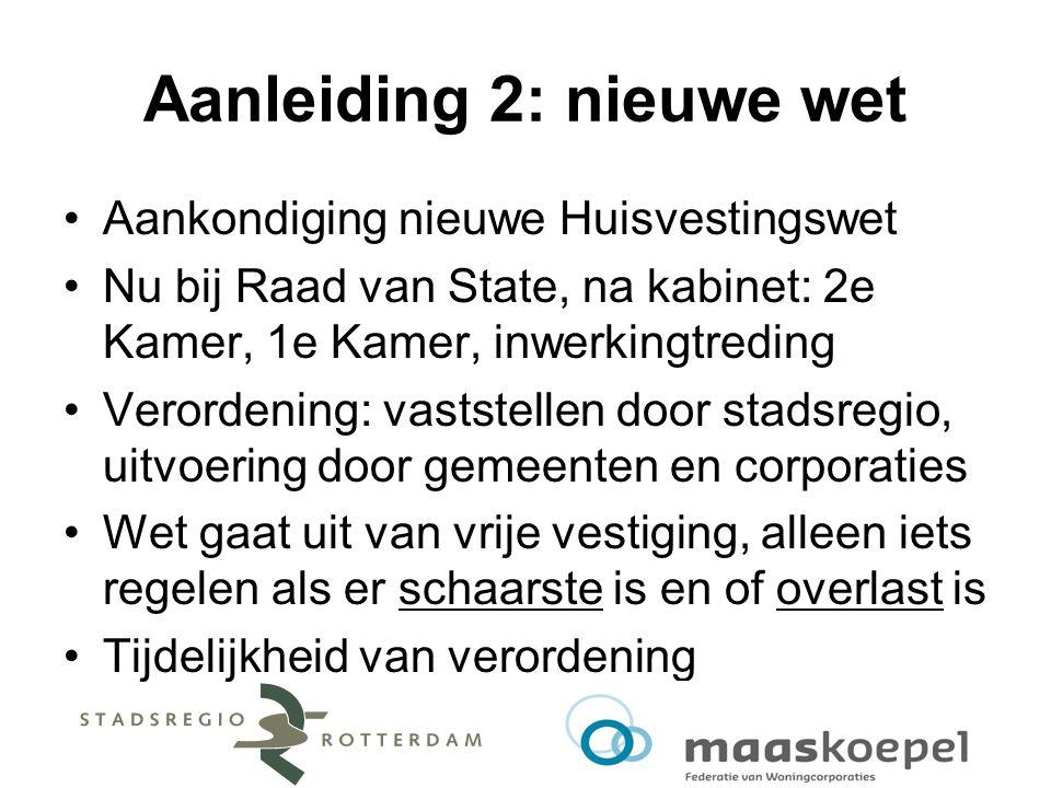 Aanleiding 2: nieuwe wet Aankondiging nieuwe Huisvestingswet Nu bij Raad van State, na kabinet: 2e Kamer, 1e Kamer, inwerkingtreding Verordening: vast