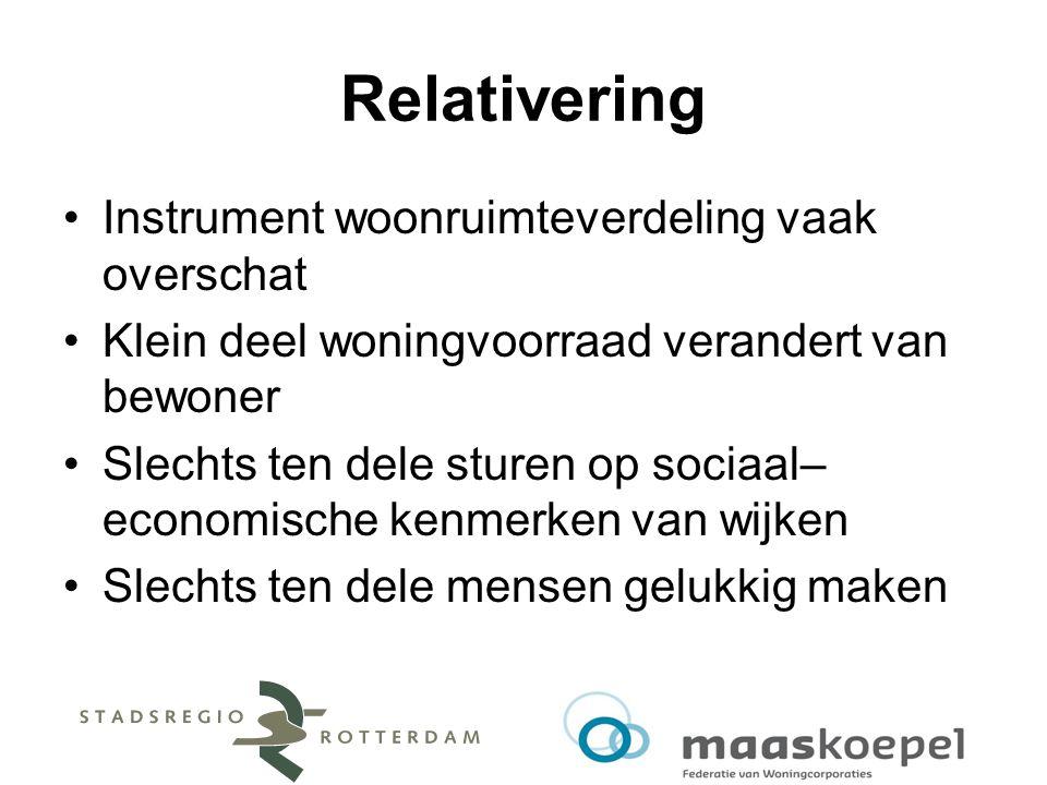 Relativering Instrument woonruimteverdeling vaak overschat Klein deel woningvoorraad verandert van bewoner Slechts ten dele sturen op sociaal– economi