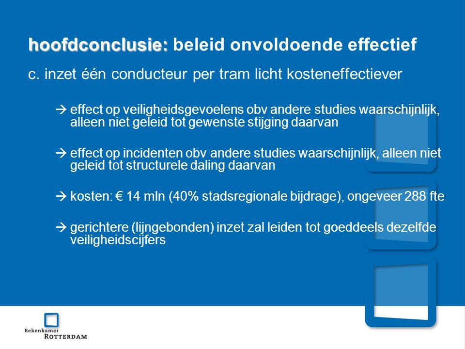 hoofdconclusie: hoofdconclusie: beleid onvoldoende effectief c.