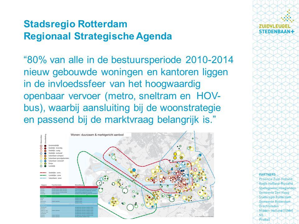 """Stadsregio Rotterdam Regionaal Strategische Agenda """"80% van alle in de bestuursperiode 2010-2014 nieuw gebouwde woningen en kantoren liggen in de invl"""