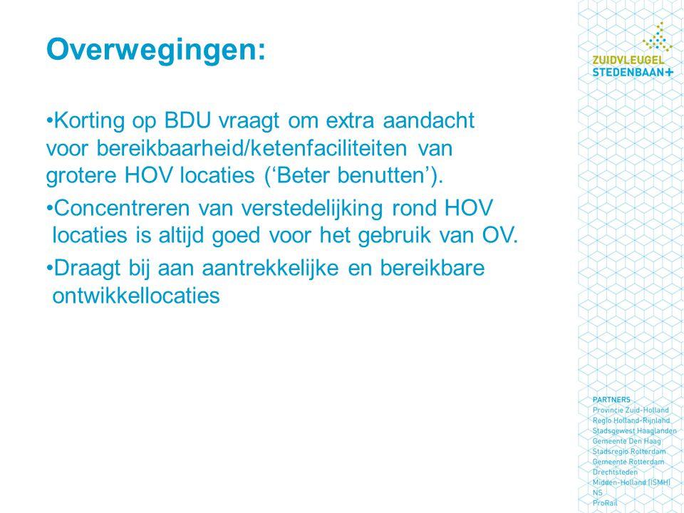 Korting op BDU vraagt om extra aandacht voor bereikbaarheid/ketenfaciliteiten van grotere HOV locaties ('Beter benutten'). Concentreren van verstedeli