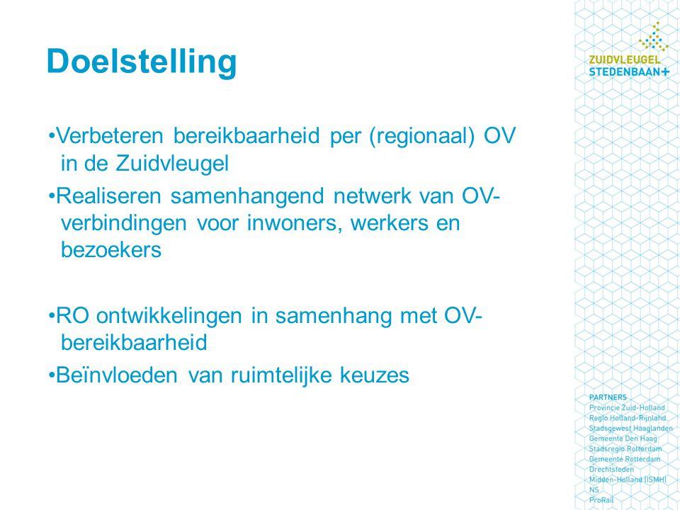 Verbeteren bereikbaarheid per (regionaal) OV in de Zuidvleugel Realiseren samenhangend netwerk van OV- verbindingen voor inwoners, werkers en bezoekers RO ontwikkelingen in samenhang met OV- bereikbaarheid Beïnvloeden van ruimtelijke keuzes Doelstelling