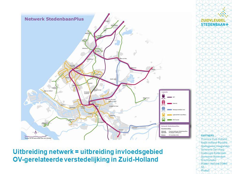 Uitbreiding netwerk = uitbreiding invloedsgebied OV-gerelateerde verstedelijking in Zuid-Holland