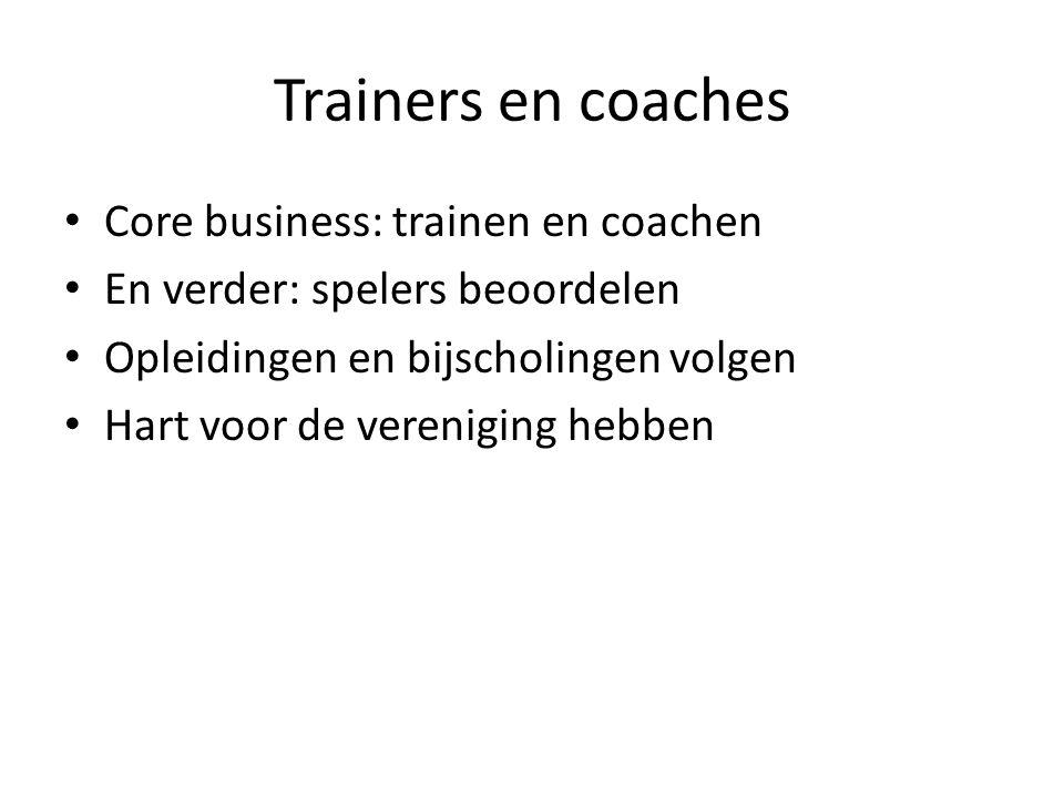 Trainers en coaches Core business: trainen en coachen En verder: spelers beoordelen Opleidingen en bijscholingen volgen Hart voor de vereniging hebben