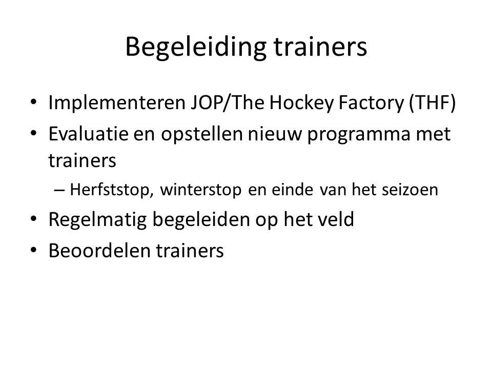 Begeleiding trainers Implementeren JOP/The Hockey Factory (THF) Evaluatie en opstellen nieuw programma met trainers – Herfststop, winterstop en einde
