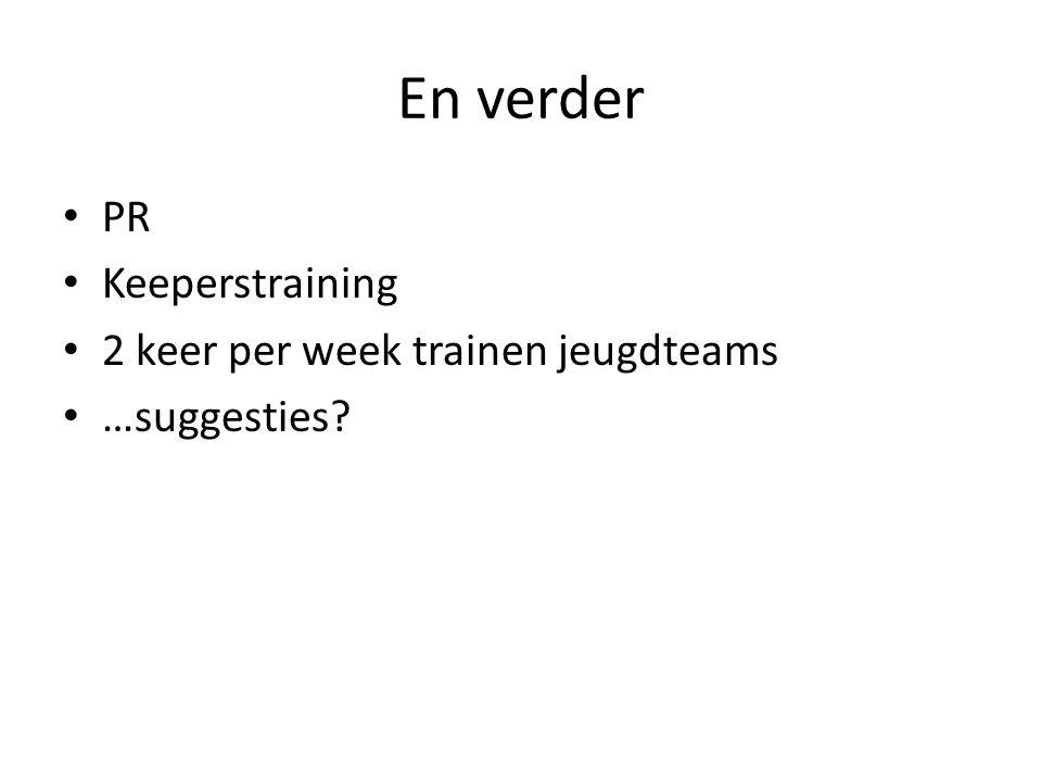 En verder PR Keeperstraining 2 keer per week trainen jeugdteams …suggesties?
