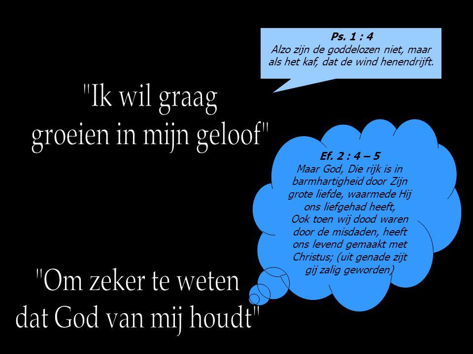 Ps. 1 : 4 Alzo zijn de goddelozen niet, maar als het kaf, dat de wind henendrijft. Ef. 2 : 4 – 5 Maar God, Die rijk is in barmhartigheid door Zijn gro