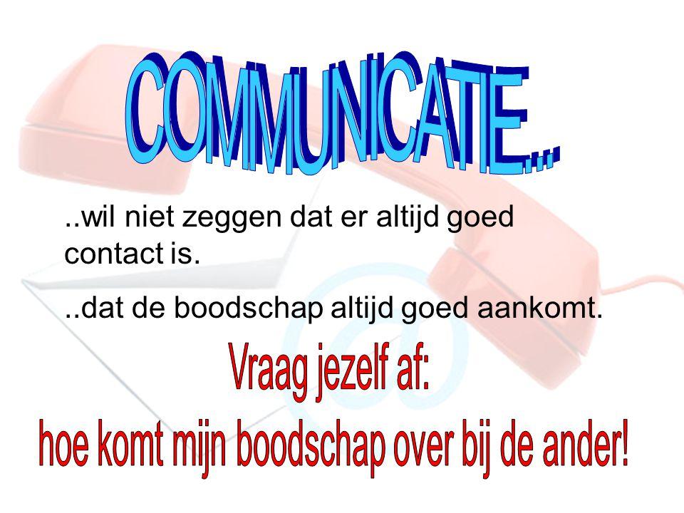 ..wil niet zeggen dat er altijd goed contact is...dat de boodschap altijd goed aankomt.