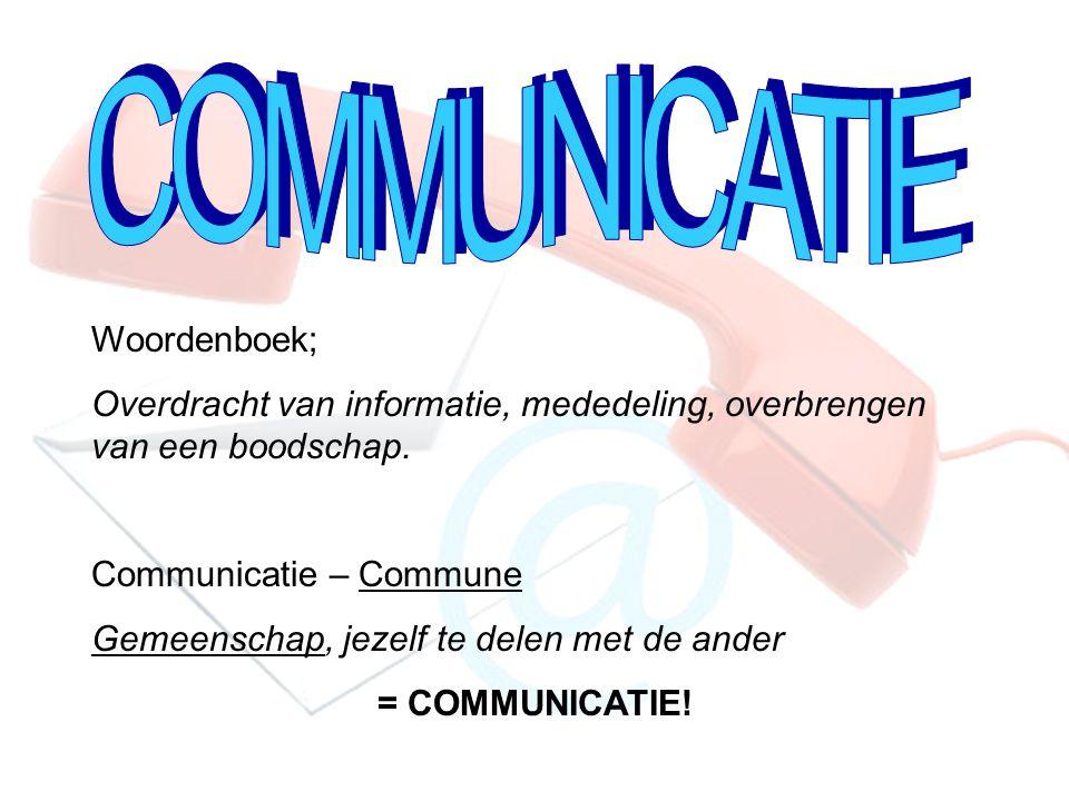 Woordenboek; Overdracht van informatie, mededeling, overbrengen van een boodschap. Communicatie – Commune Gemeenschap, jezelf te delen met de ander =