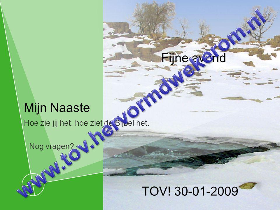 Mijn Naaste Hoe zie jij het, hoe ziet de Bijbel het. TOV! 30-01-2009 Fijne avond Nog vragen?