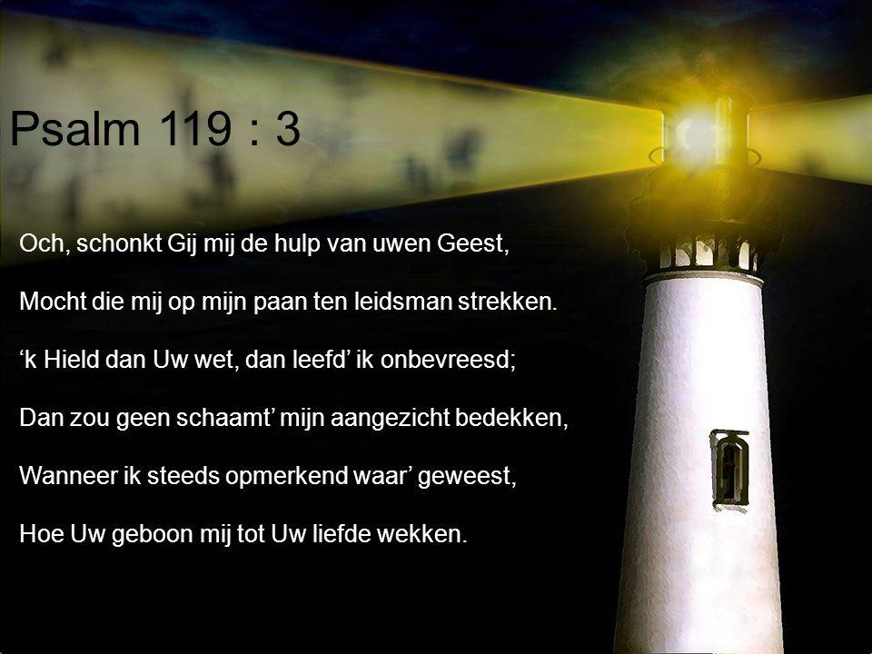 Psalm 119 : 3 Och, schonkt Gij mij de hulp van uwen Geest, Mocht die mij op mijn paan ten leidsman strekken. 'k Hield dan Uw wet, dan leefd' ik onbevr