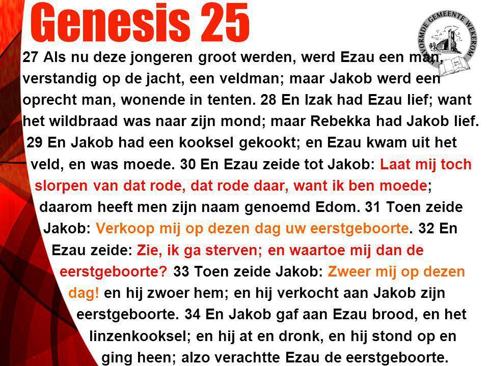 Genesis 25 27 Als nu deze jongeren groot werden, werd Ezau een man, verstandig op de jacht, een veldman; maar Jakob werd een oprecht man, wonende in t