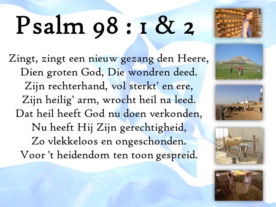 Psalm 98 : 1 & 2 Zingt, zingt een nieuw gezang den Heere, Dien groten God, Die wondren deed. Zijn rechterhand, vol sterkt' en ere, Zijn heilig' arm, w