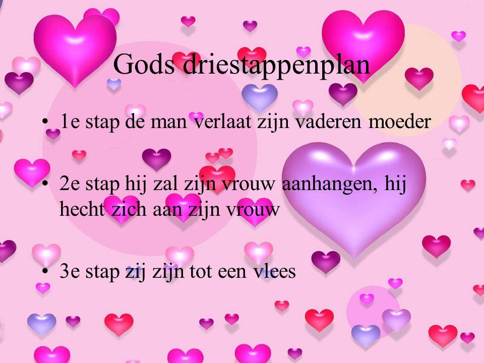 Gods driestappenplan 1e stap de man verlaat zijn vaderen moeder 2e stap hij zal zijn vrouw aanhangen, hij hecht zich aan zijn vrouw 3e stap zij zijn t