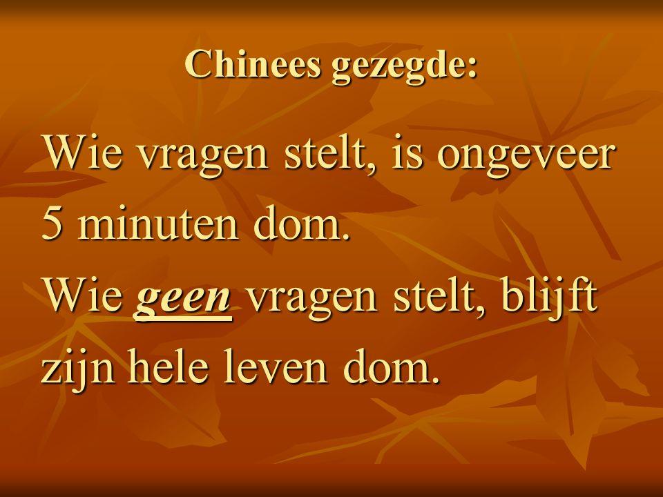Chinees gezegde: Wie vragen stelt, is ongeveer 5 minuten dom. Wie geen vragen stelt, blijft zijn hele leven dom.