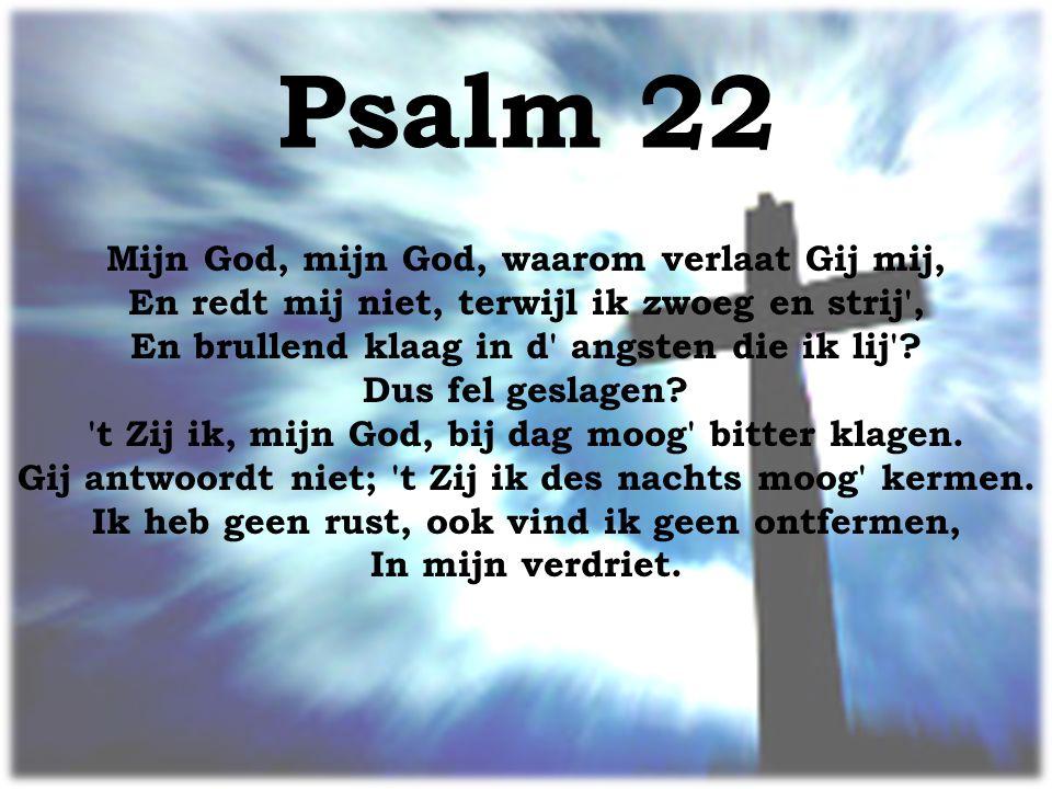 Psalm 22 Mijn God, mijn God, waarom verlaat Gij mij, En redt mij niet, terwijl ik zwoeg en strij , En brullend klaag in d angsten die ik lij .