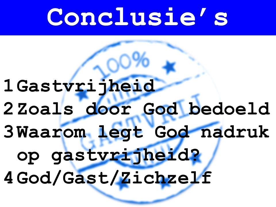 1Gastvrijheid 2Zoals door God bedoeld 3Waarom legt God nadruk op gastvrijheid? 4God/Gast/Zichzelf