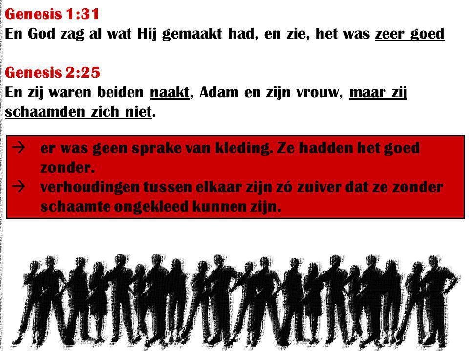 Genesis 1:31 En God zag al wat Hij gemaakt had, en zie, het was zeer goed Genesis 2:25 En zij waren beiden naakt, Adam en zijn vrouw, maar zij schaamden zich niet.