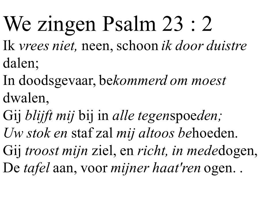 We zingen Psalm 23 : 2 Ik vrees niet, neen, schoon ik door duistre dalen; In doodsgevaar, bekommerd om moest dwalen, Gij blijft mij bij in alle tegens