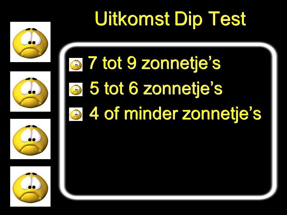 Uitkomst Dip Test 7 tot 9 zonnetje's 5 tot 6 zonnetje's 4 of minder zonnetje's 7 tot 9 zonnetje's 5 tot 6 zonnetje's 4 of minder zonnetje's