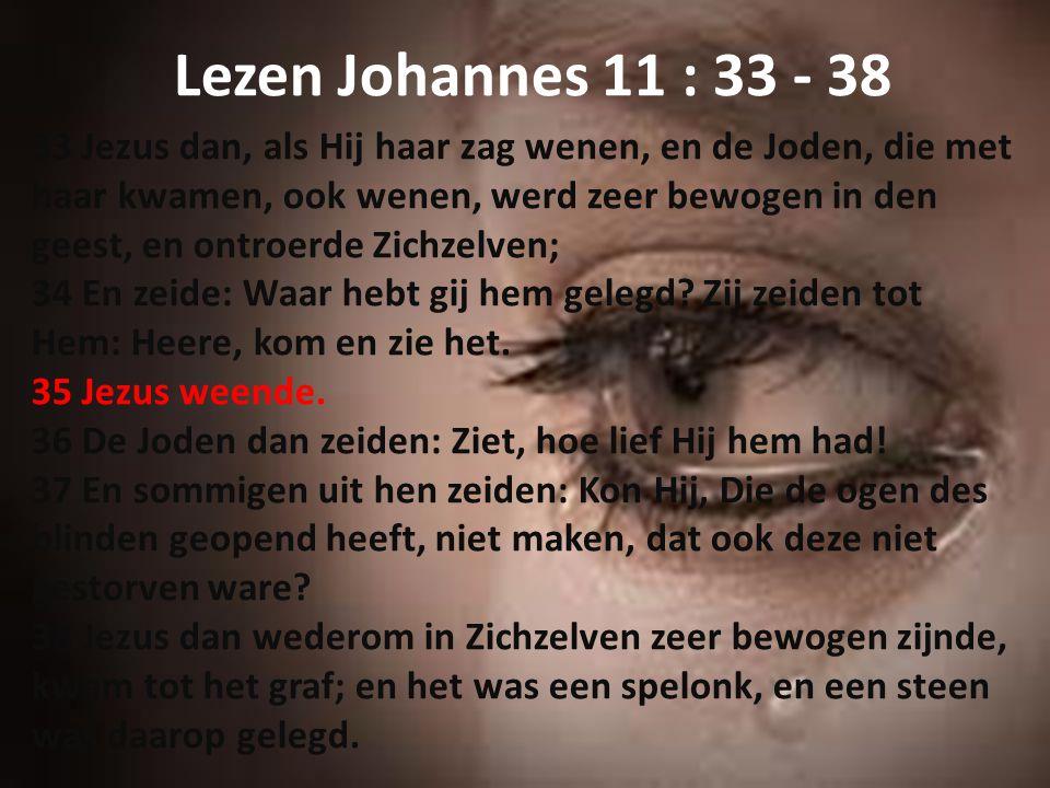 Lezen Johannes 11 : 33 - 38 33 Jezus dan, als Hij haar zag wenen, en de Joden, die met haar kwamen, ook wenen, werd zeer bewogen in den geest, en ontr