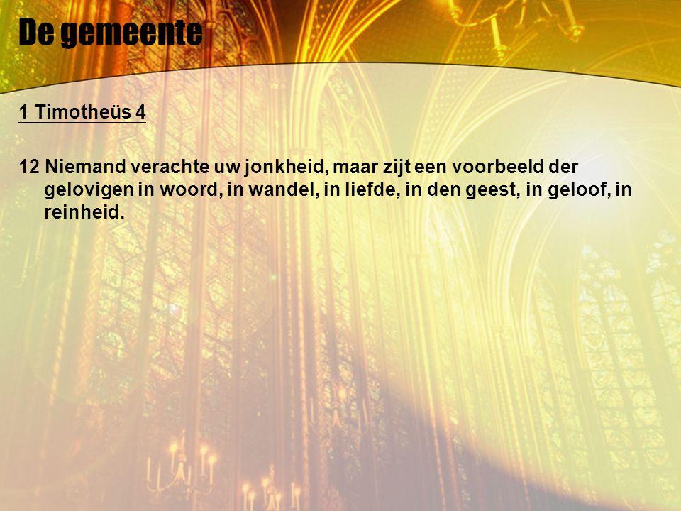 De gemeente 1 Timotheüs 4 12 Niemand verachte uw jonkheid, maar zijt een voorbeeld der gelovigen in woord, in wandel, in liefde, in den geest, in geloof, in reinheid.