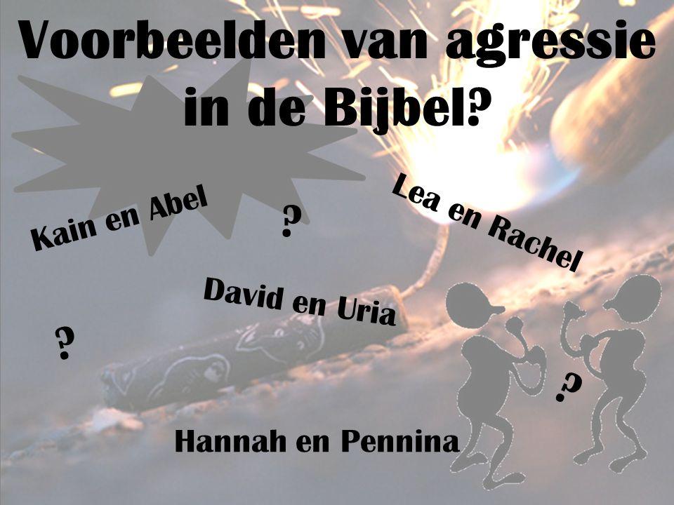Voorbeelden van agressie in de Bijbel.Kain en Abel Hannah en Pennina David en Uria Lea en Rachel .
