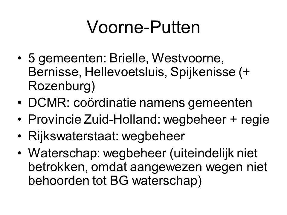 Voorne-Putten 5 gemeenten: Brielle, Westvoorne, Bernisse, Hellevoetsluis, Spijkenisse (+ Rozenburg) DCMR: coördinatie namens gemeenten Provincie Zuid-