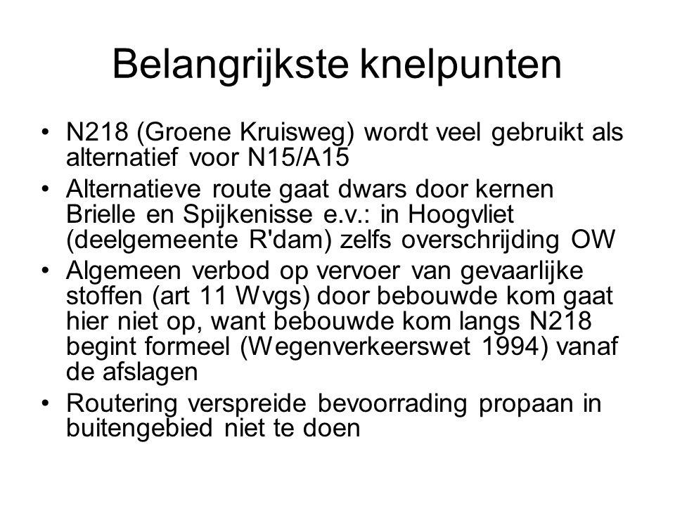Oplossingen N218 in zoverre van routering uitsluiten, dat: –LPG tankstations en verlading in Spijkenisse en Brielle zoveel mogelijk bereikbaar zijn via route –doorgaand vervoer van routeplichtige stoffen door Brielle en Spijkenisse (e.v.