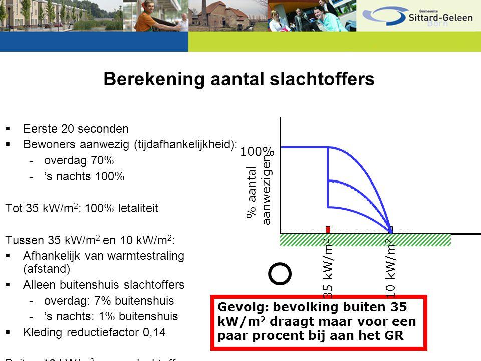 Berekening aantal slachtoffers  Eerste 20 seconden  Bewoners aanwezig (tijdafhankelijkheid): -overdag 70% -'s nachts 100% Tot 35 kW/m 2 : 100% letal