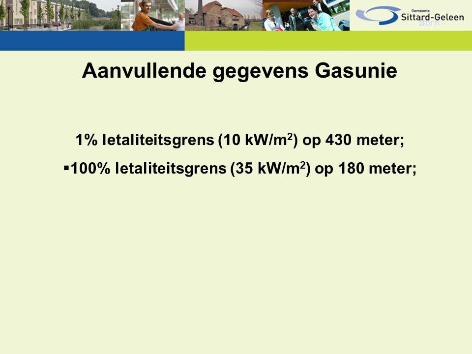 Aanvullende gegevens Gasunie 1% letaliteitsgrens (10 kW/m 2 ) op 430 meter;  100% letaliteitsgrens (35 kW/m 2 ) op 180 meter;