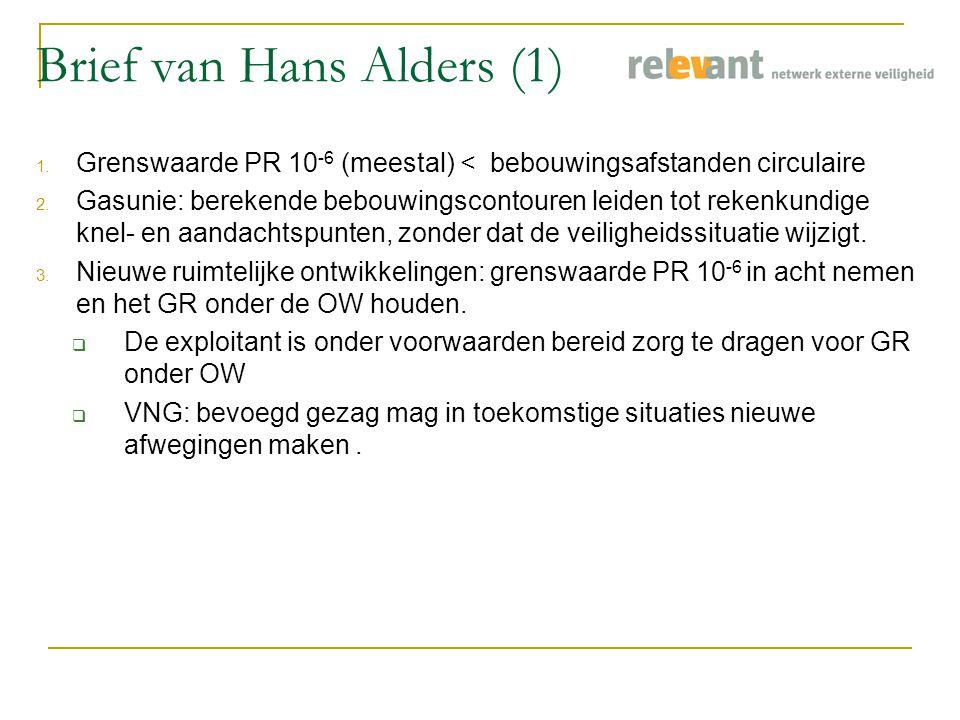Brief van Hans Alders (1) 1. Grenswaarde PR 10 -6 (meestal) < bebouwingsafstanden circulaire 2.