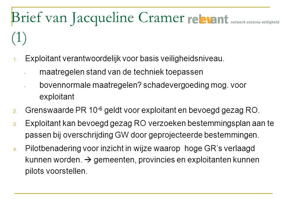 Brief van Jacqueline Cramer (1) 1. Exploitant verantwoordelijk voor basis veiligheidsniveau.