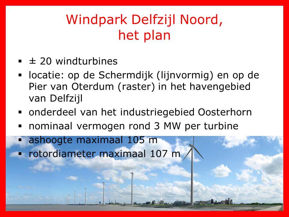 Windpark Delfzijl Noord, het plan  ± 20 windturbines  locatie: op de Schermdijk (lijnvormig) en op de Pier van Oterdum (raster) in het havengebied v