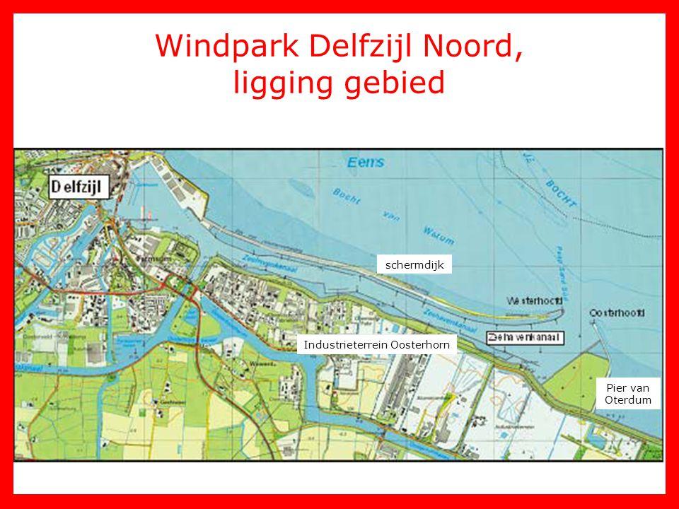 Windpark Delfzijl Noord, ligging gebied schermdijk Pier van Oterdum Industrieterrein Oosterhorn