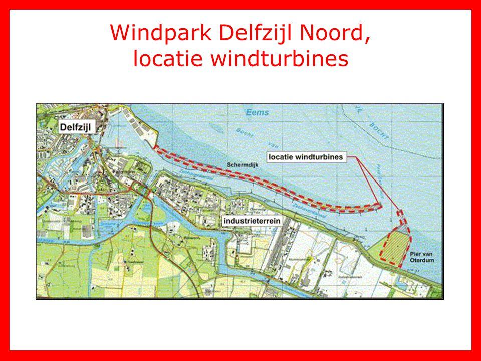 Windpark Delfzijl Noord, locatie windturbines