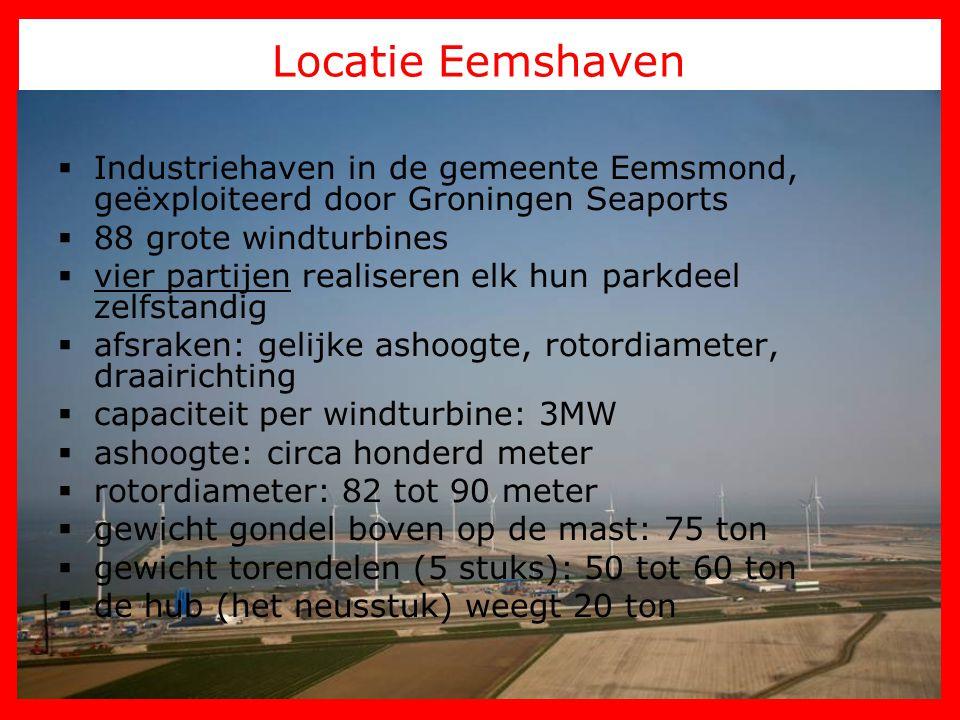 Locatie Eemshaven  Industriehaven in de gemeente Eemsmond, geëxploiteerd door Groningen Seaports  88 grote windturbines  vier partijen realiseren e