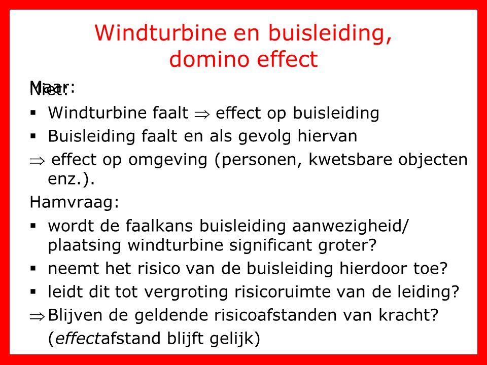 Windturbine en buisleiding, domino effect Niet:  Windturbine faalt  effect op omgeving  Buisleiding faalt  effect op omgeving  effect op omgeving