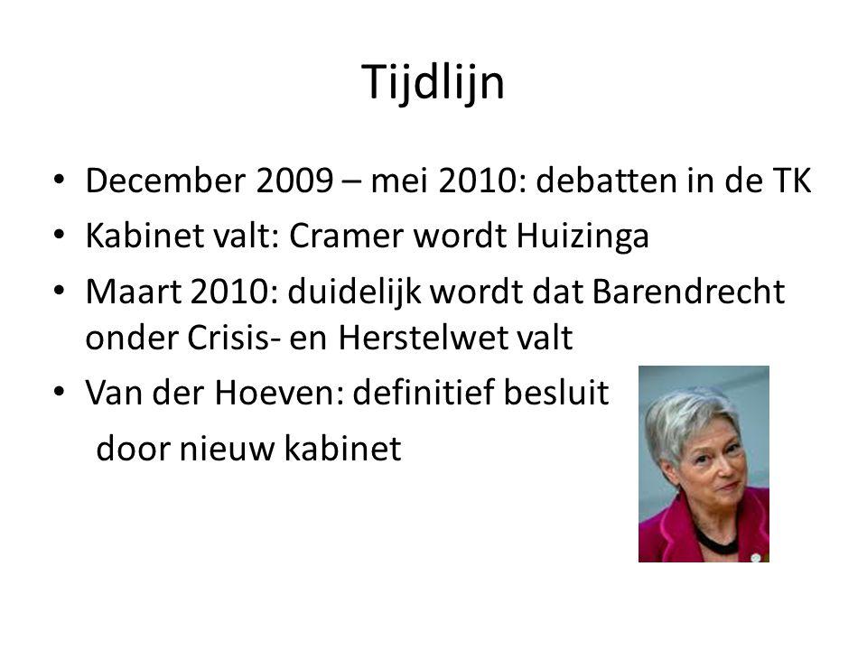 Tijdlijn December 2009 – mei 2010: debatten in de TK Kabinet valt: Cramer wordt Huizinga Maart 2010: duidelijk wordt dat Barendrecht onder Crisis- en Herstelwet valt Van der Hoeven: definitief besluit door nieuw kabinet
