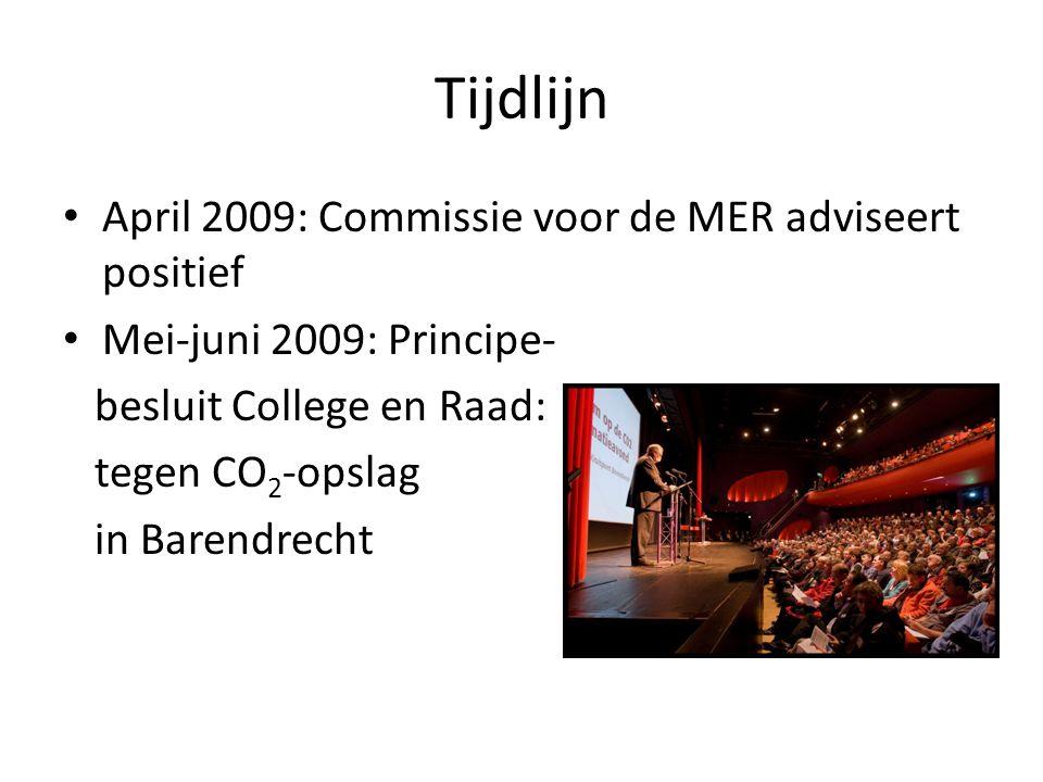 Tijdlijn April 2009: Commissie voor de MER adviseert positief Mei-juni 2009: Principe- besluit College en Raad: tegen CO 2 -opslag in Barendrecht