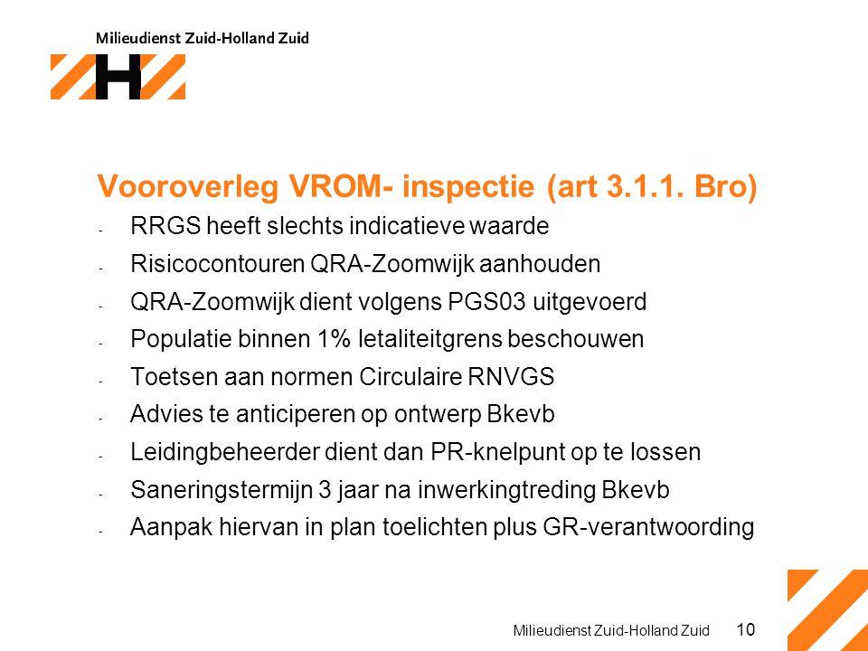 10 Milieudienst Zuid-Holland Zuid Vooroverleg VROM- inspectie (art 3.1.1. Bro) - RRGS heeft slechts indicatieve waarde - Risicocontouren QRA-Zoomwijk