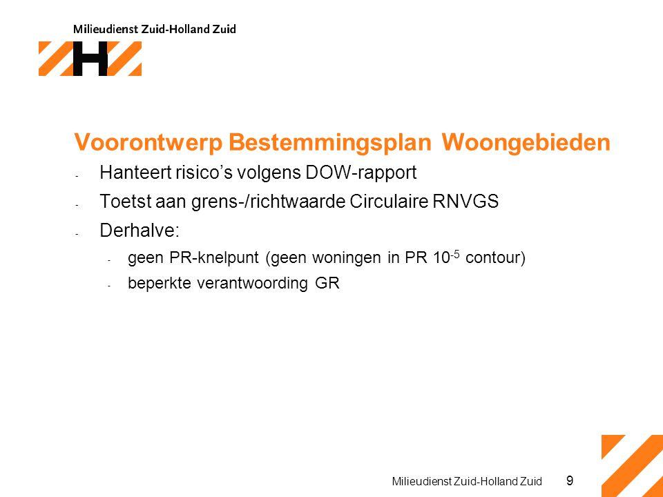 9 Milieudienst Zuid-Holland Zuid Voorontwerp Bestemmingsplan Woongebieden - Hanteert risico's volgens DOW-rapport - Toetst aan grens-/richtwaarde Circulaire RNVGS - Derhalve: - geen PR-knelpunt (geen woningen in PR 10 -5 contour) - beperkte verantwoording GR