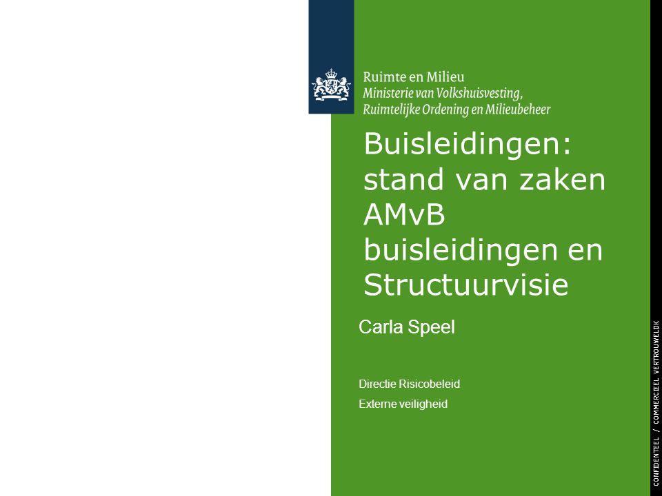 CONFIDENTEEL / COMMERCIEEL VERTROUWELIJK Buisleidingen: stand van zaken AMvB buisleidingen en Structuurvisie Carla Speel Directie Risicobeleid Externe